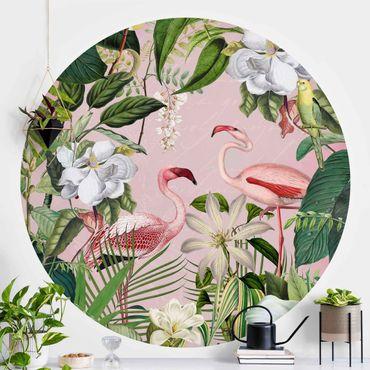 Runde Tapete selbstklebend - Tropische Flamingos mit Pflanzen in Rosa