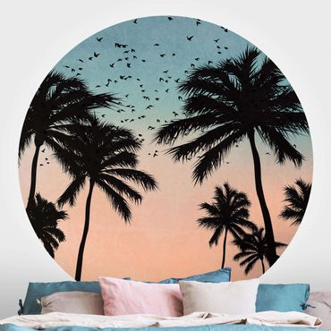 Runde Tapete selbstklebend - Tropischer Sonnenaufgang in Blau Rosa