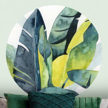 Runde Tapete selbstklebend - Tropisches Blattwerk - Banane