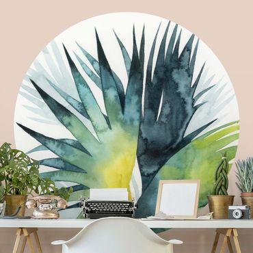 Runde Tapete selbstklebend - Tropisches Blattwerk - Fächerpalme