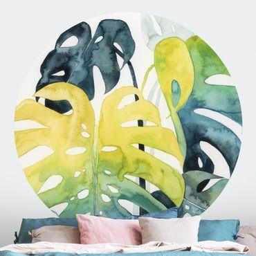 Runde Tapete selbstklebend - Tropisches Blattwerk - Monstera