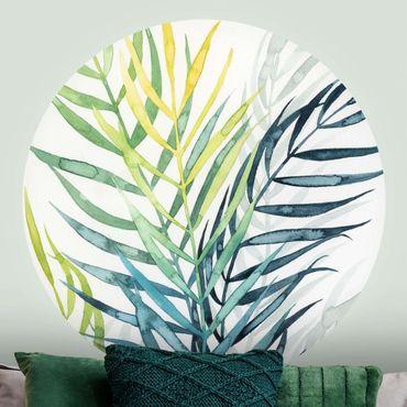 Runde Tapete selbstklebend - Tropisches Blattwerk - Palme