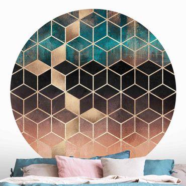 Runde Tapete selbstklebend - Türkis Rosé goldene Geometrie