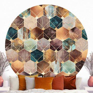 Runde Tapete selbstklebend - Türkise Geometrie goldenes Art Deco