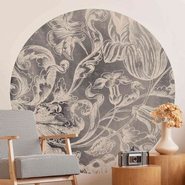 Runde Tapete selbstklebend - Verblühtes Blumenornament I