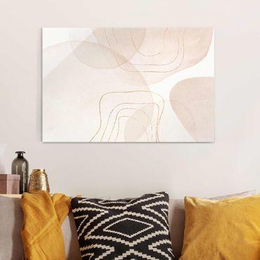 Glasbild - Verspielte Impressionen mit goldenen Linien - Querformat