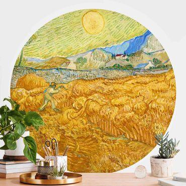 Runde Tapete selbstklebend - Vincent van Gogh - Kornfeld mit Schnitter