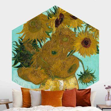 Hexagon Mustertapete selbstklebend - Vincent van Gogh - Vase mit Sonnenblumen