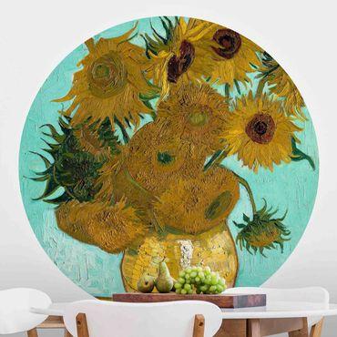Runde Tapete selbstklebend - Vincent van Gogh - Vase mit Sonnenblumen