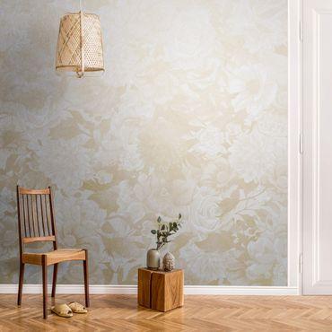 Metallic Tapete  - Vintage Blütentraum in Beige