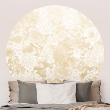 Runde Tapete selbstklebend - Vintage Blütentraum in Beige