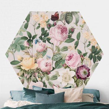 Hexagon Mustertapete selbstklebend - Vintage Blumen Illustration XXL