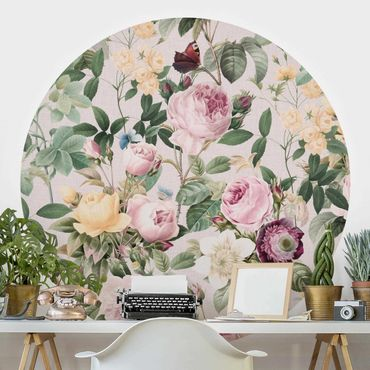 Runde Tapete selbstklebend - Vintage Blumen Illustration XXL