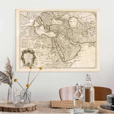 Glasbild - Vintage Karte Orient - Querformat