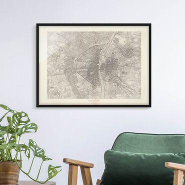 Bild mit Rahmen - Vintage Karte Paris - Querformat