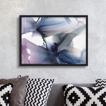 Bild mit Rahmen - Violett im Fluss - Querformat