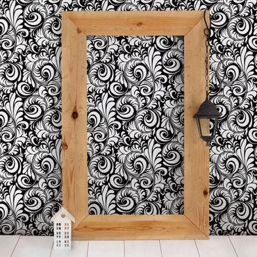 Fototapete Black and White Leaves Pattern
