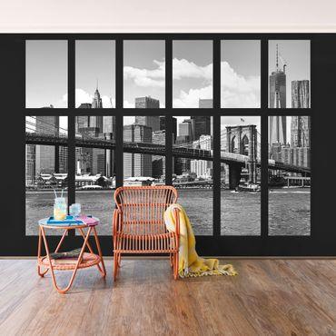 Fototapete Fenster New York Brooklyn Bridge II