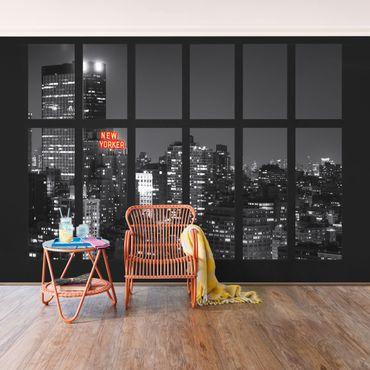 Fototapete Fenster New York Nacht Skyline