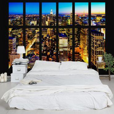 Fototapete Fensterblick Manhattan Skyline bei Nacht