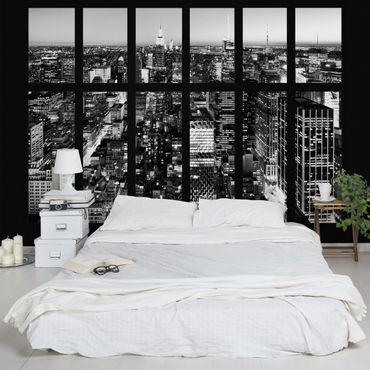 Fototapete Fensterblick Manhattan Skyline schwarz-weiß