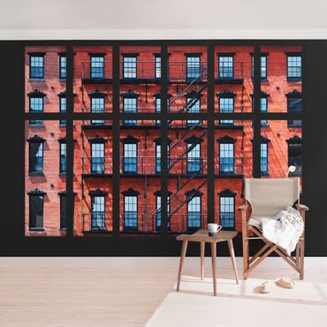Fototapete Fensterblick rote Amerikanische Fassade