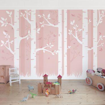 Fototapete Rosa Birkenwald mit Schmetterlingen und Vögel
