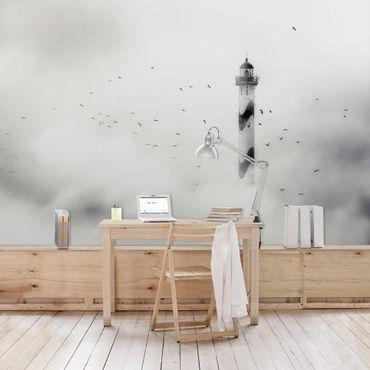 Fototapete Leuchtturm im Nebel