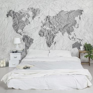 Fototapete Papier Weltkarte Weiß Grau