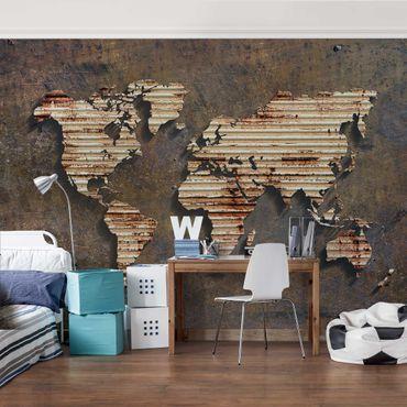 Fototapete Rost Weltkarte