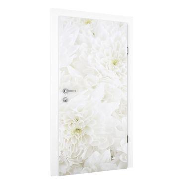 Türtapete - Dahlien Blumenmeer weiß