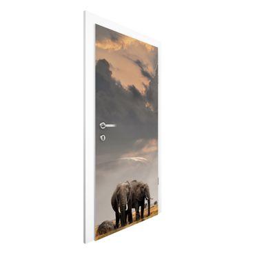 Türtapete - Elefanten der Savanne
