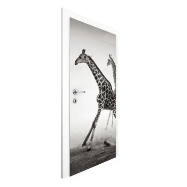 Türtapete - Giraffenjagd