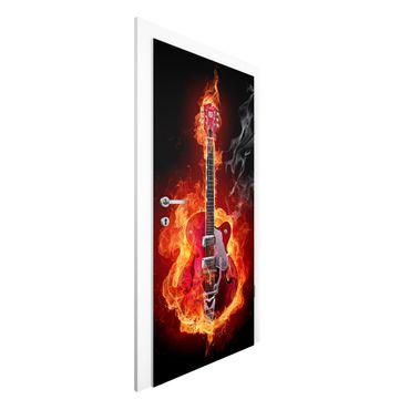Türtapete - Gitarre in Flammen