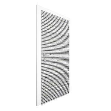 Türtapete - Holzwand mit schmalen Leisten schwarz weiß