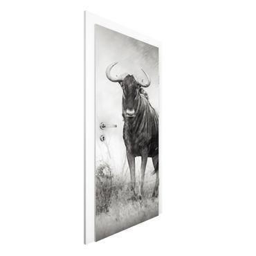 Türtapete - Staring Wildebeest