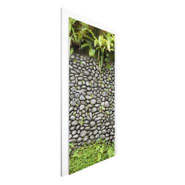 Türtapete - Steinwand mit Pflanzen
