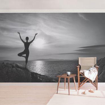 Fototapete Yoga schwarz weiss