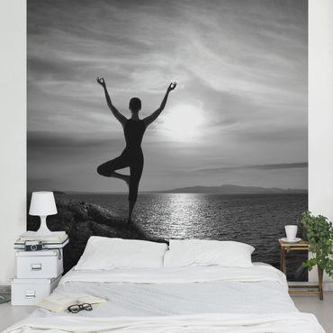Fototapete Yoga schwarz weiß
