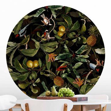Runde Tapete selbstklebend - Vögel mit Ananas Grün