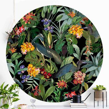 Runde Tapete selbstklebend - Vögel mit Tropischen Blumen