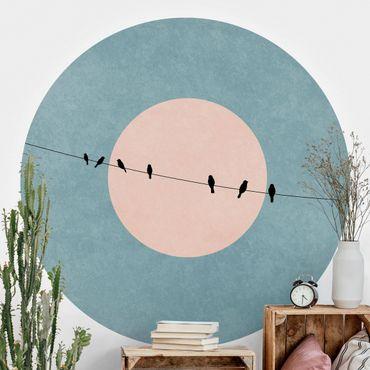 Runde Tapete selbstklebend - Vögel vor rosa Sonne I
