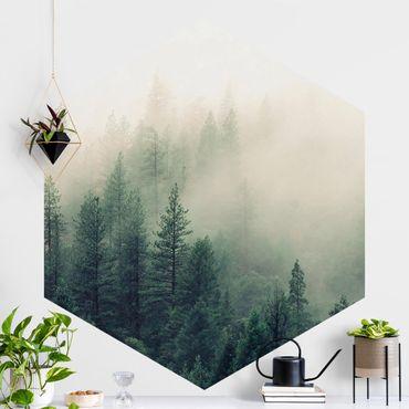 Hexagon Mustertapete selbstklebend - Wald im Nebel Erwachen