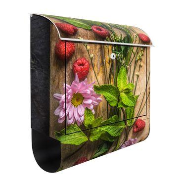 Wandbriefkasten - Blumen Himbeeren Minze - Briefkasten Bunt