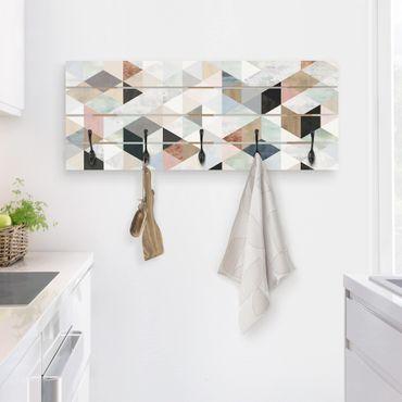 Wandgarderobe Holz - Aquarell-Mosaik mit Dreiecken I