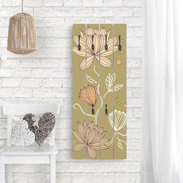Wandgarderobe Holz - Art Nouveau Flower