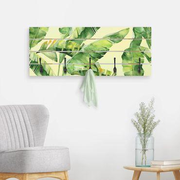 Wandgarderobe Holz - Bananenblätter Aquarell
