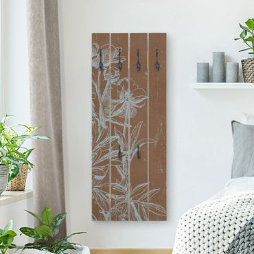 Wandgarderobe Holz - Blaue Blumenskizze