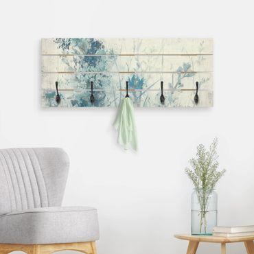 Wandgarderobe Holz - Blaue Frühlingswiese I