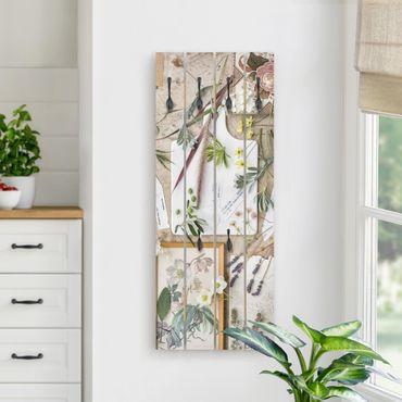 Wandgarderobe Holz - Blumen und Gartenkräuter Vintage